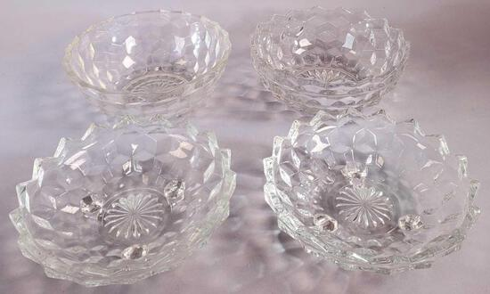 (3) Fostoria American Glass Fruit Bowls and (1) Clear Bowl