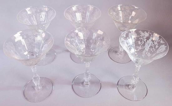 (6) Cambridge Glass Rose Point Stemware - Champagnes  (LPO)