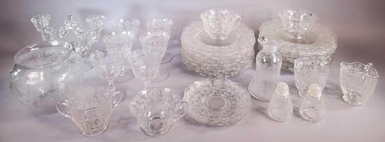 Assorted Cambridge Glass Rose Point Lot (LPO)
