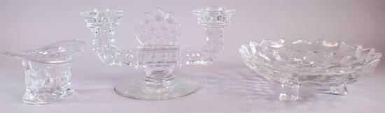 (3) Fostoria American Glass Pieces
