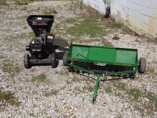 Craftsman Shredder & John Deere Dethatcher/ Drop seeder