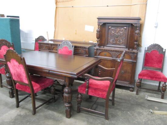 Vintage Ornate Carved Dining Room Suite