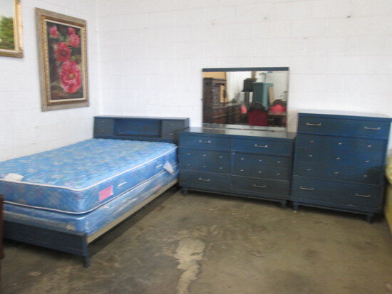 Full Sized Blue Bedroom Suite with Sealy Mattress Set