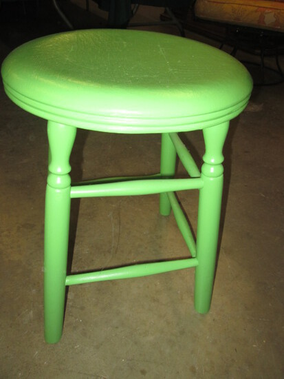 Green Painted Wood Stool