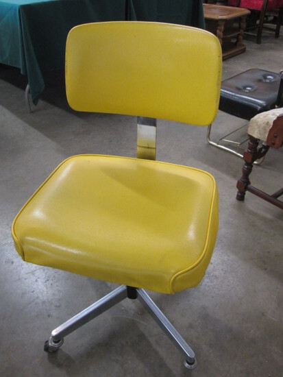 Mid Century Lemon Yellow & Chrome Harter Swivel Office Chair