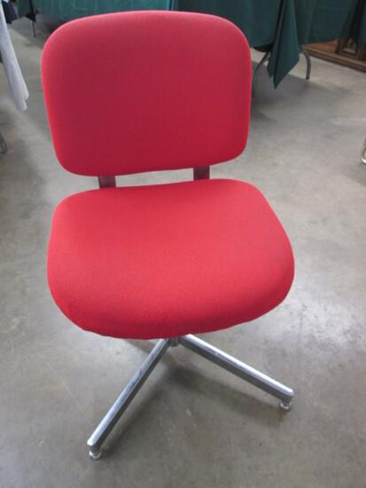Red Upholstery & Chrome HON Swivel Office Chair