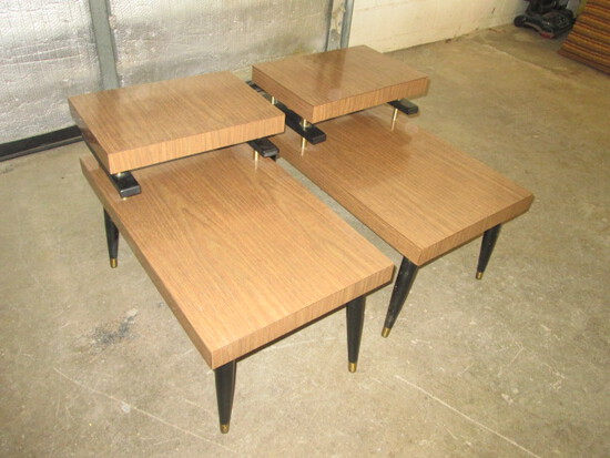Pair Mid Century Step End Tables