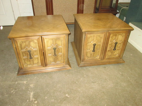 Pair Vintage Wood End Stands/Cabinets/Tables
