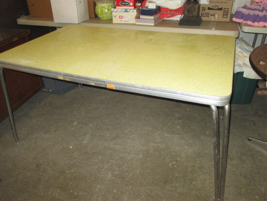 Vintage Yellow Formica & Chrome Dining Table