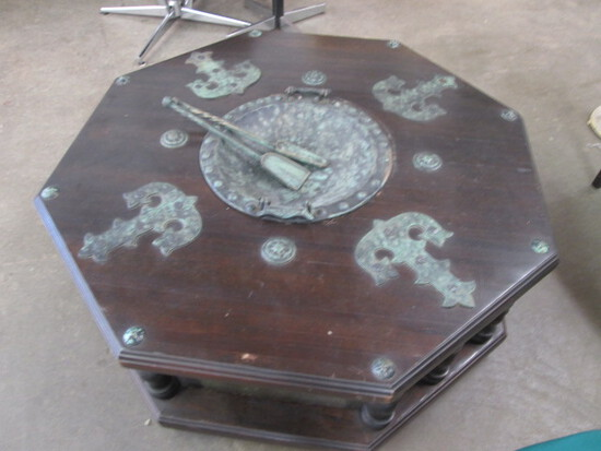 Mid Century Octagaonal Wood & Iron Chat/Hibachi Coffee Table with Tools