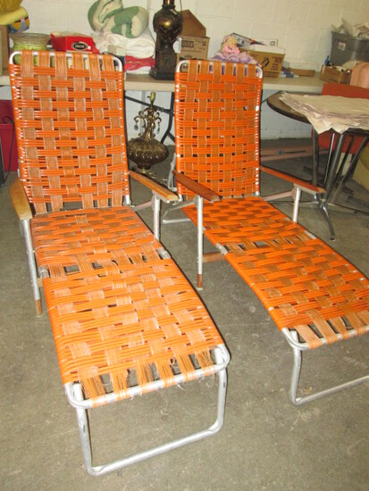 2 Mid Century Telescope Folding Furniture Lounge Chairs