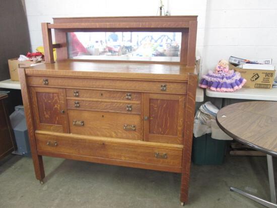 Antique Oak Server/Buffet with Mirror