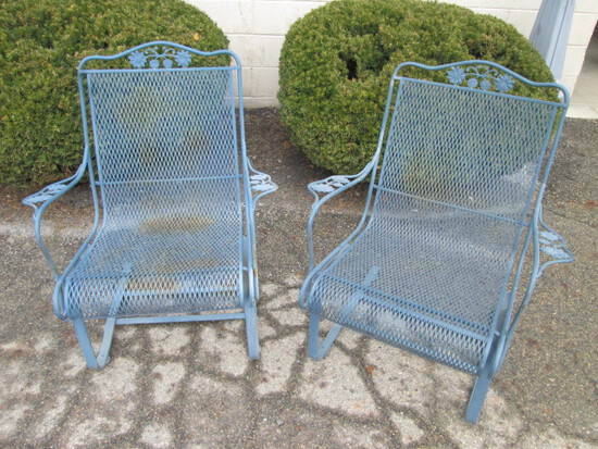 Pair Vintage Woodard Briarwood Wrought Iron High Back Spring Lounge Chairs