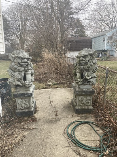 Pair Antique 5' Cement Foo Dogs Statues