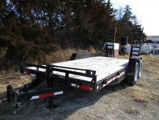 PJ Utility Flat Trailer 16ft W/2ft Dovetail, Ramps, Tandem 7,000lb Axles –