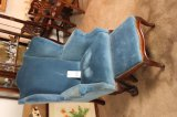 Antique Blue Velour Wingback Chair & Foot Stool
