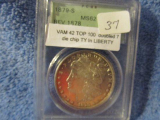 1879S REV. OF 78 MORGAN DOLLAR PCGS MS62 (VAM 42) TOP-100