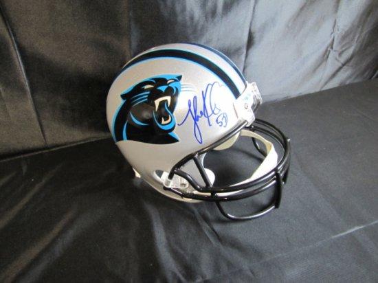 Carolina Panthers, Luke Kuechly, signed full-size helmet, blue sharpie, Fanatics cert,