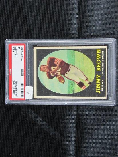 Jim Brown 1958 Topps rookie, PSA graded, VG/X,