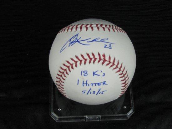 Corey Kluber signed MLB ball with stats, 18Ks, 1hitter 5/13/15, JSA cert,