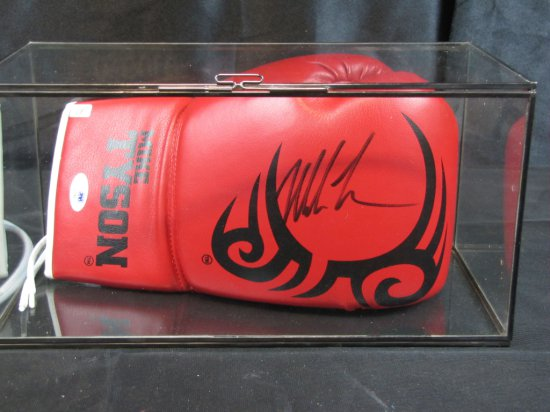 Mike Tyson signed red boxing glove, PSA/DNA cert, black ink, large signature, in display case,
