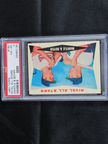 Mickey Mantle and Ken Boyer 1960 Topps, PSA graded, VG/X,