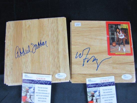 Walt Frazier & Kareem Abdul -Jabbar, signed 6X6 basketball floor pieces, both JSA certed, both signe
