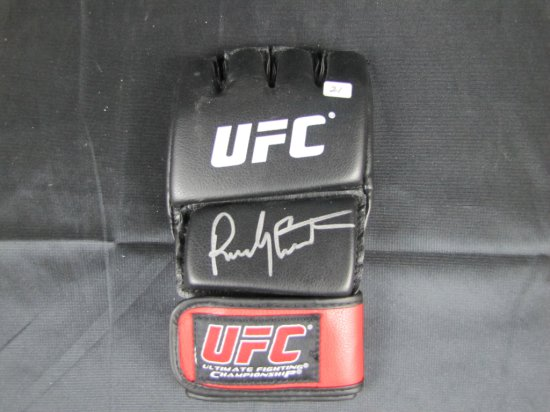 Randy Couture signed UFC black and red glove, silver sharpie, JSA certed,