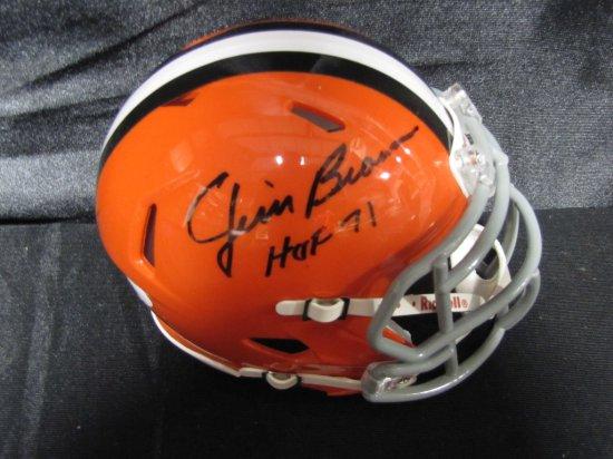 Jim Brown signed Cleveland Browns orange mini-helmet, with HOF inscription, in display case, JSA,
