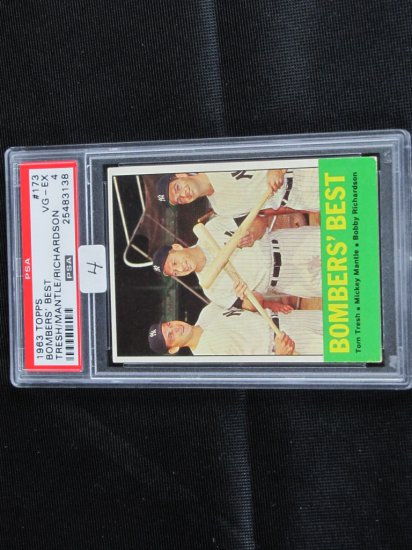 Mantle, Richardson, Tresh; 1963 Topps, PSA graded, VG/X, card #173,
