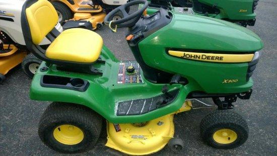 "2012 John Deere X300, 42"" Mulching Deck, Kawasaki V-Twin 18.5hp Engine, Hyd"