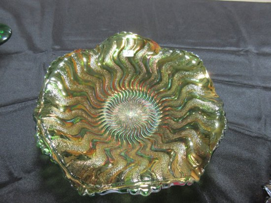 MLBG. ZIGZAG BOWL 9'' RARE EDGE GREEN WOW VERY NICE
