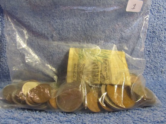 BAG OF MISC. WORLD COINS