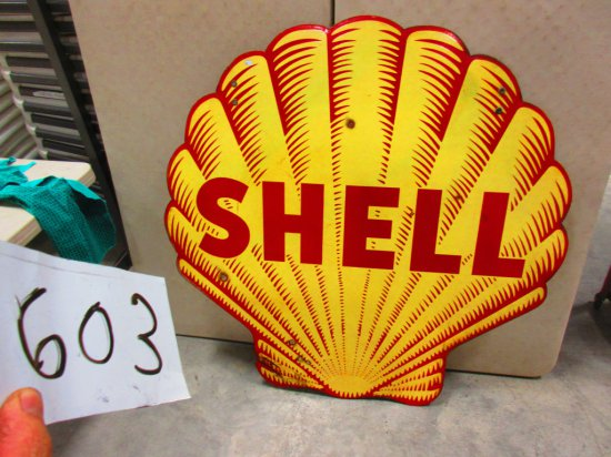 SHELL TIGER STRIPE SIGN D.S.P. 47''X47'' 1 SIDE A FEW ROUGH SPOTS OTHER SIDE TAR SPOTS THAT COULD BE
