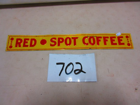 RED SPOT COFFEE SHELF SIGN S,S.T. 3''X20'' AMERICAN ART WORKS