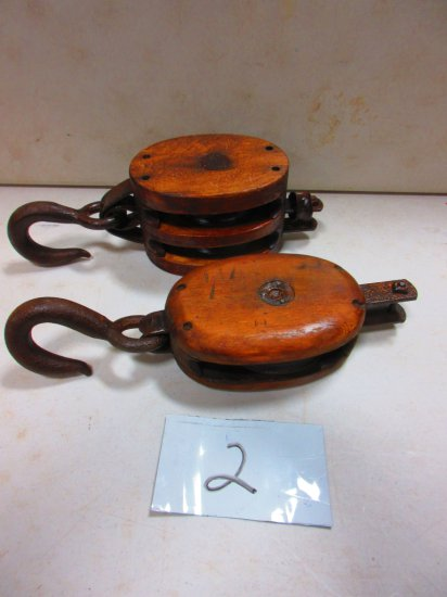 2 LARGE WOODEN PULLEYS [2 TIMES YOUR BID]