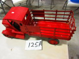 EARLY MACK TRUCK TIN TOY WORKING CRANK REMOVABLE RACKS
