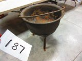 CAST IRON KETTLE ON STAND GOOD COND. READY TO USE