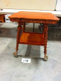 OAK COFFEE TABLE WITH LARGE GLASS BALL & CLAW FEET UNUSUAL LARGER SIZE