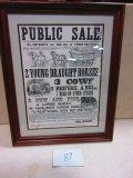 1863 LANCASTER CO. PUBLIC FARM SALE BILL IN FRAME[ COPY] GREAT GRAPICS