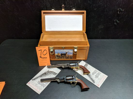(2) F. LLI PIETTA .44 Cal. Black Powder Revolvers - w/ Wooden Case