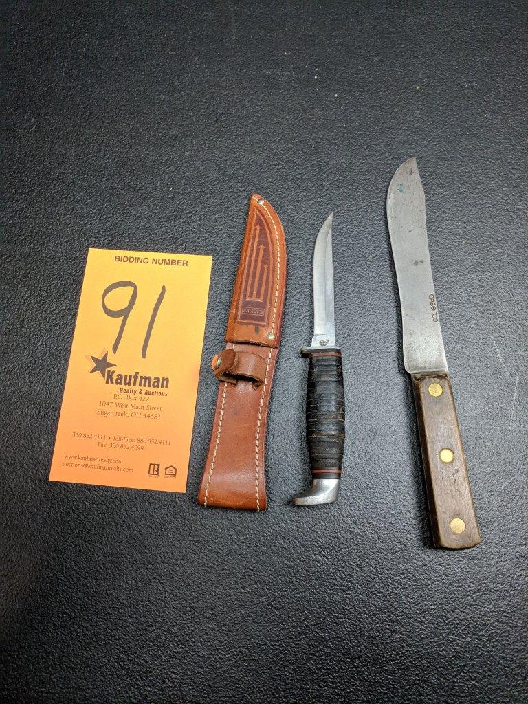 Case XX Straight Blade Knife & Sheath - 3 Finn SSP 9 dot & Case XX Knife
