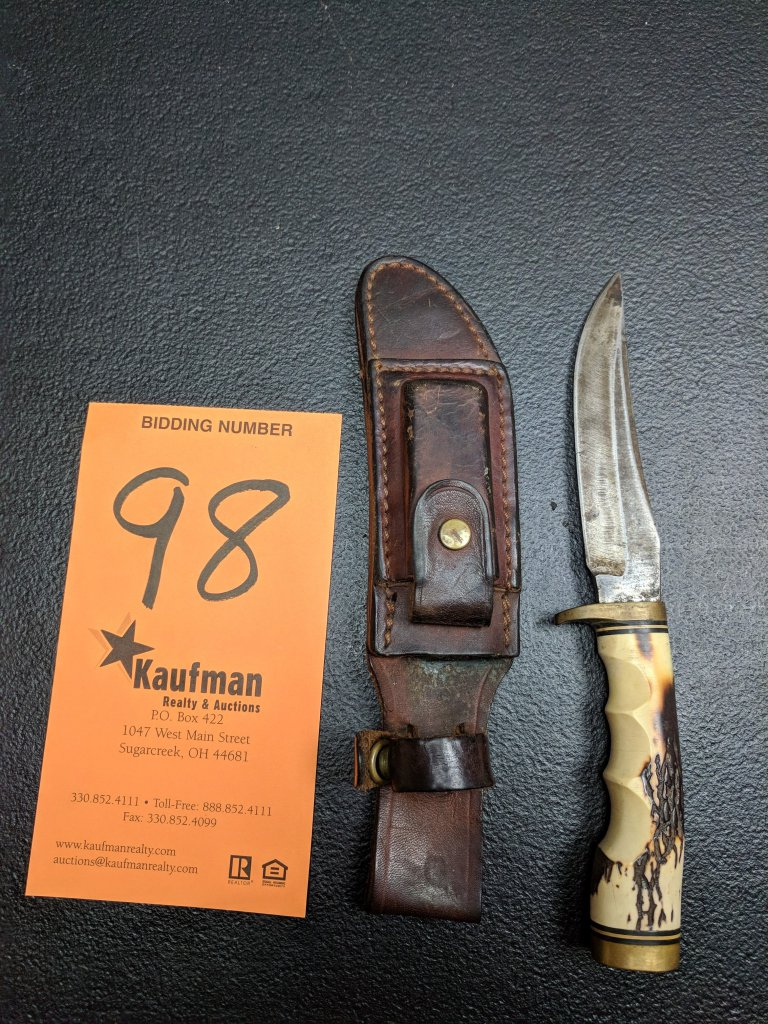 Schrade 153UH Straight Blade with Sheath & Sharpening Stone