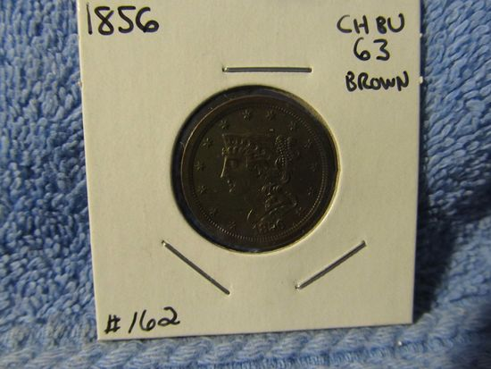 1856 HALF CENT BU-BROWN