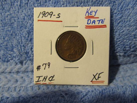 1909S INDIAN HEAD CENT KEY DATE XF