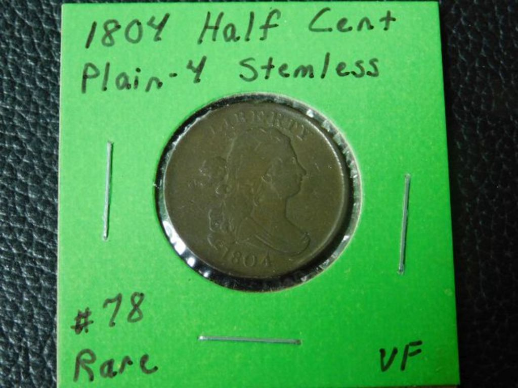 1804 PLAIN-4 STEMLESS HALF CENT VF