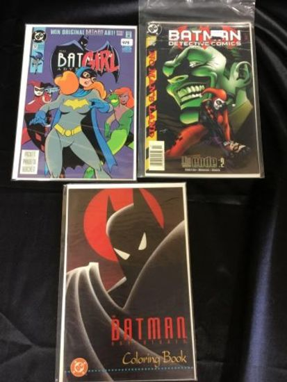 The Batgirl Adventures issue 12, Batman Detective comics issue 737 and a coloring book