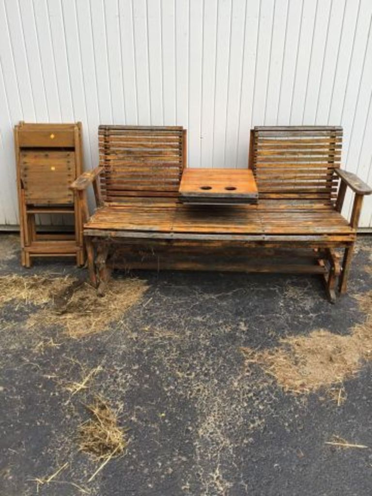 Glider Bench & 4 Folding Chair... Auctions Online | Proxibid