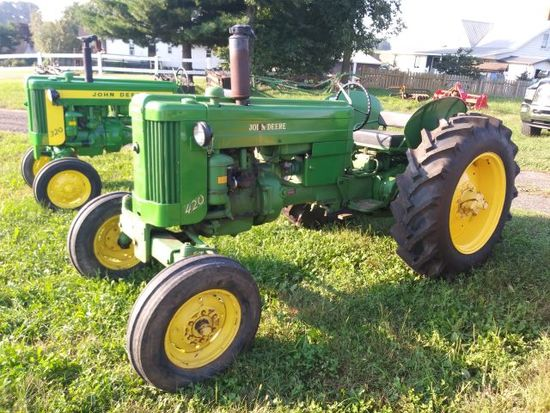 1956 JD-420-W-#94769 - all green, fenders, new rear tires, only 3,071 built