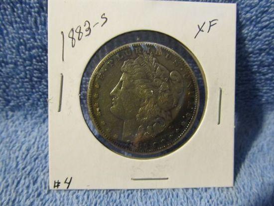 1883S MORGAN DOLLAR (OBV. TONING) XF